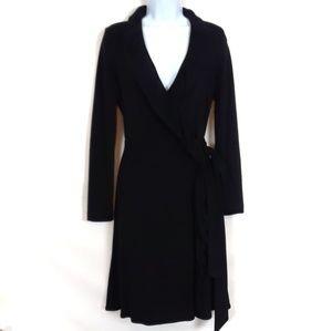 Milly of New York Black Ruffle Wrap Dress size S